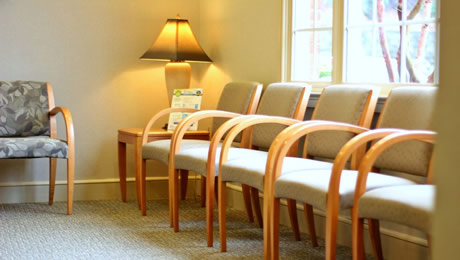 Chairs in the dental waiting room