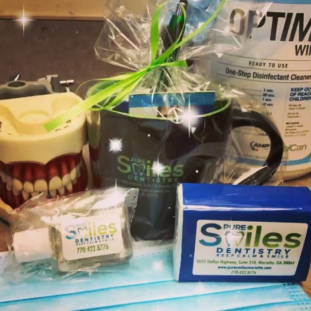 Pure Smiles Dentistry gadgets packed in disposable packagings.
